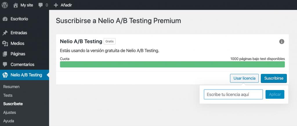 Introducir código de licencia de Nelio A/B Testing