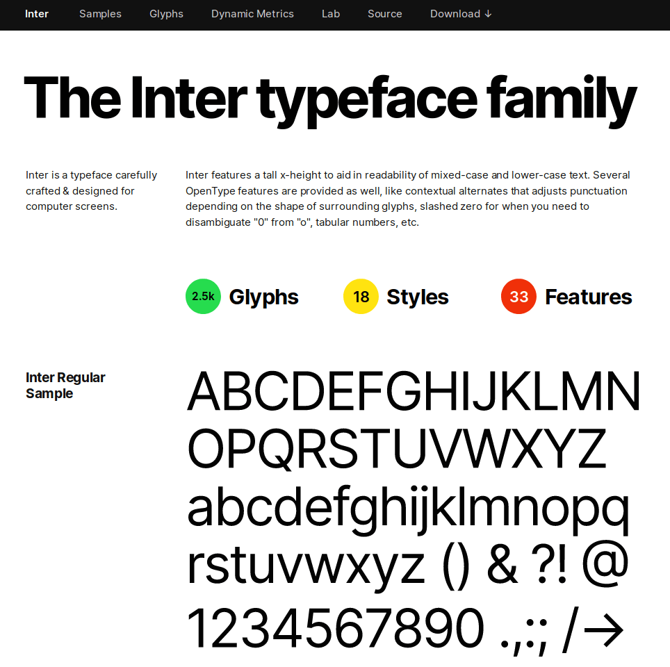 Screenshot of Inter's home page (an open typeface).