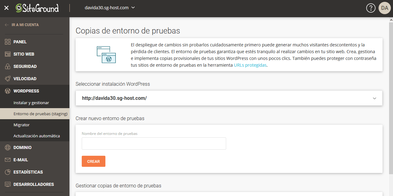 Opciones de staging en SiteGround