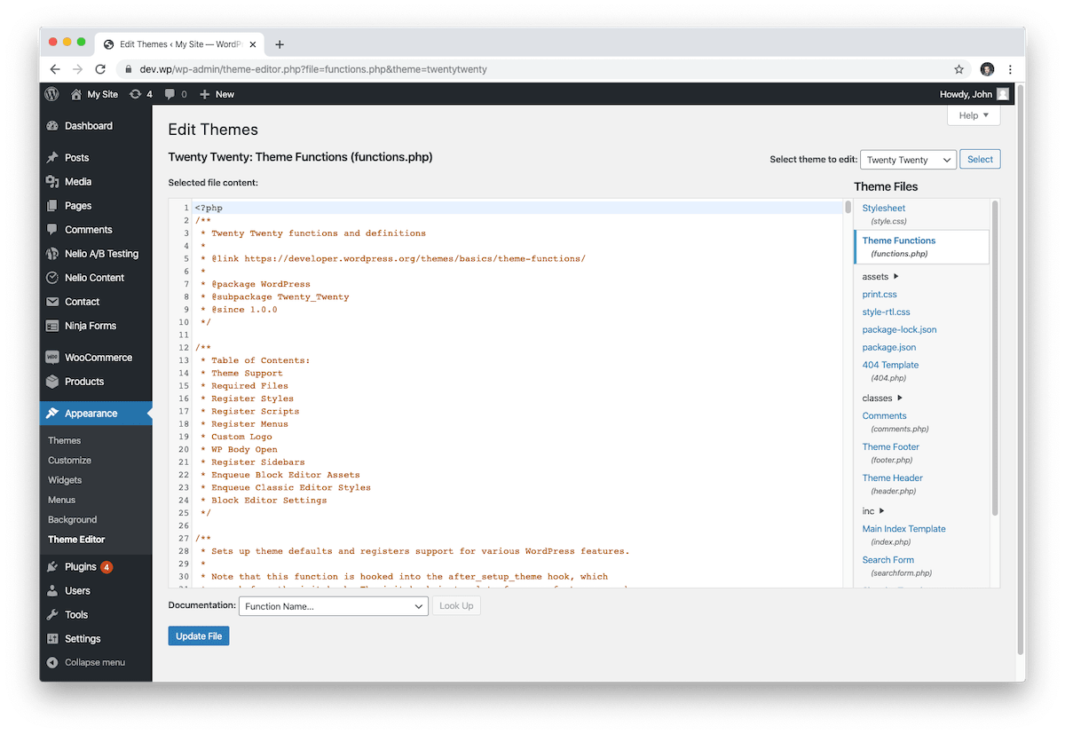 WordPress theme editor.