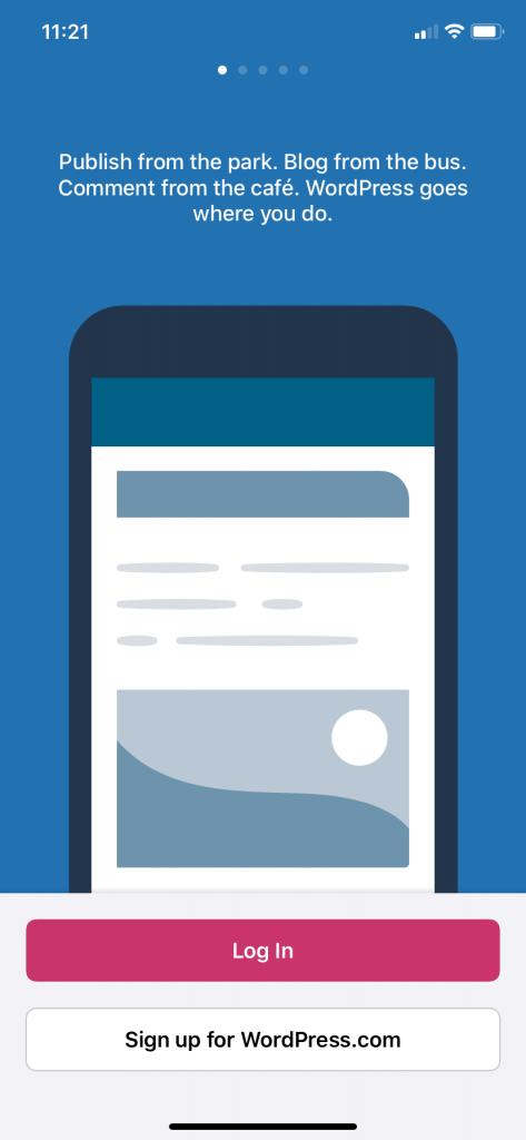 Main screen of the WordPress app for iPhone