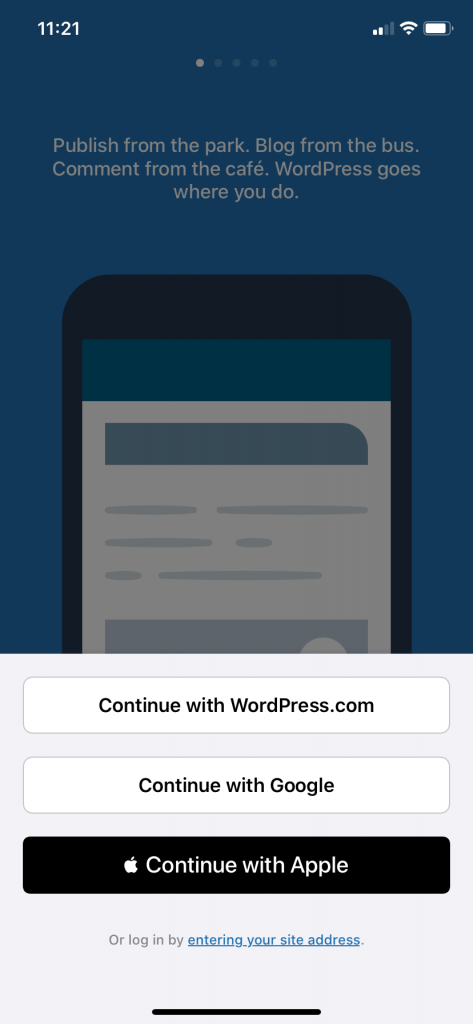 Screen to connect to your WordPress site