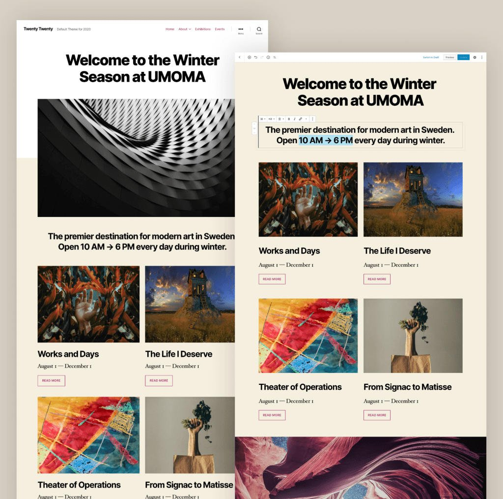 New Twenty Twenty theme in WordPress