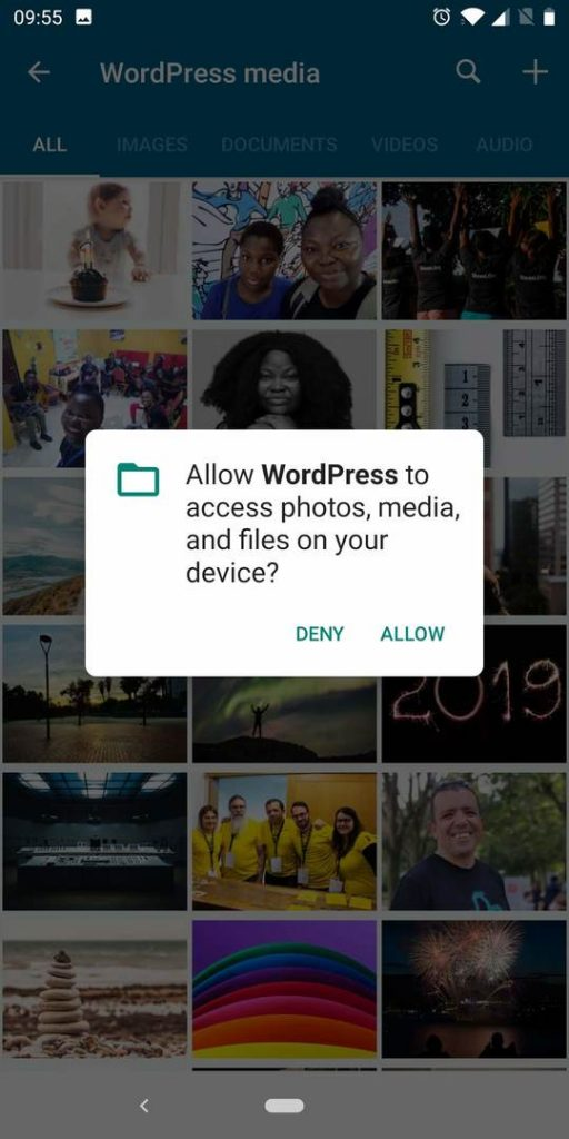 Android permission management for the WordPress app