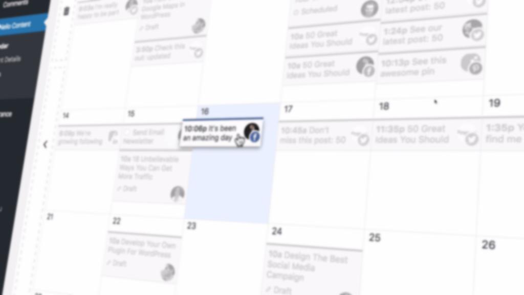 Captura de pantalla del calendario editorial de Nelio Content