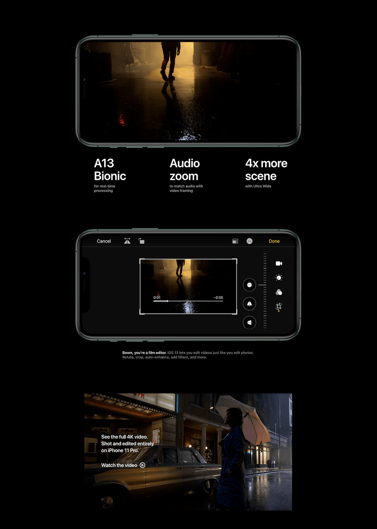The iPhone Pro pages are found in dark mode.