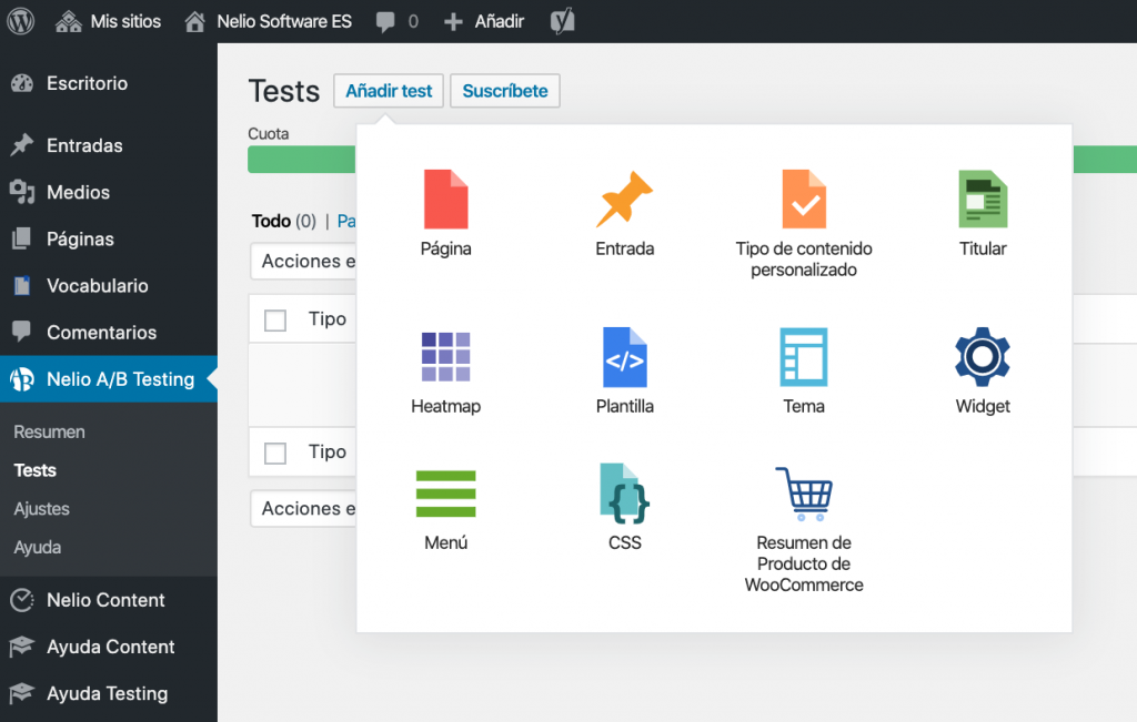 New test selector in Nelio A / B Testing 5.0