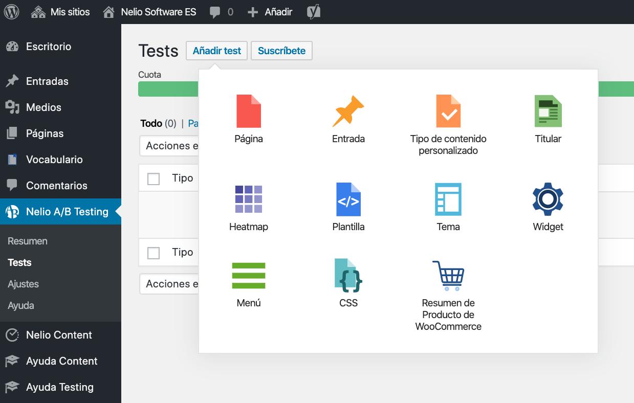 Selector de nuevo test en Nelio A/B Testing 5.0