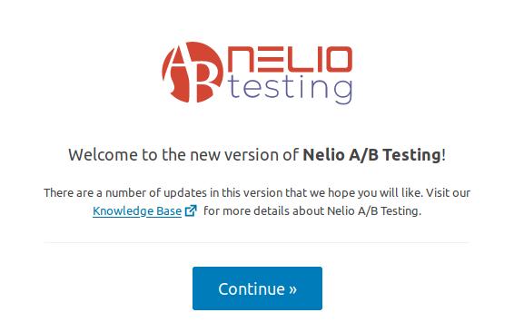 Pantalla de bienvenida en Nelio A/B Testing 5.0