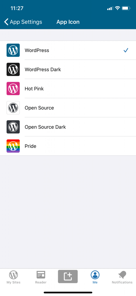 Cambia el icono de la app de WordPress para iPhone