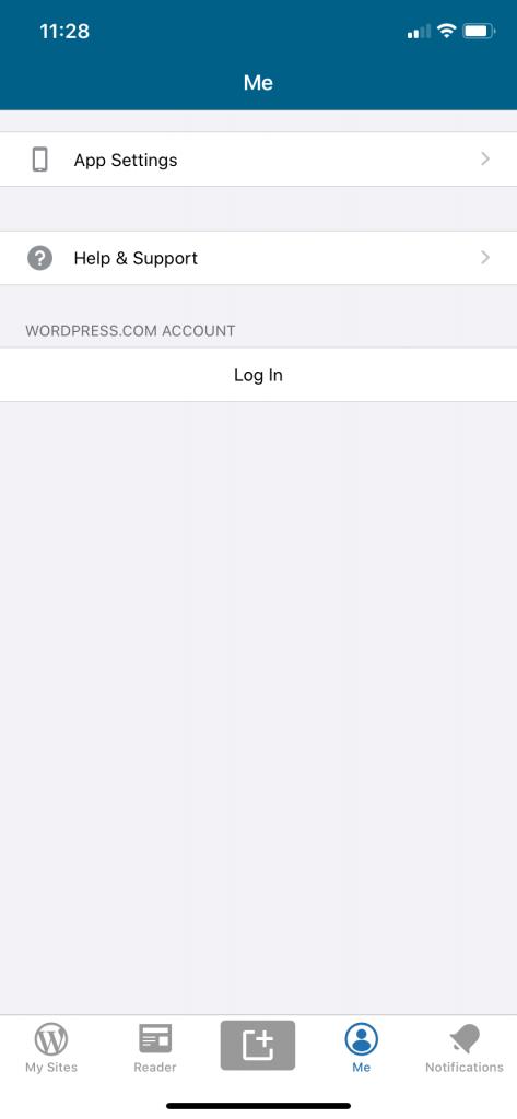 WordPress app options screen