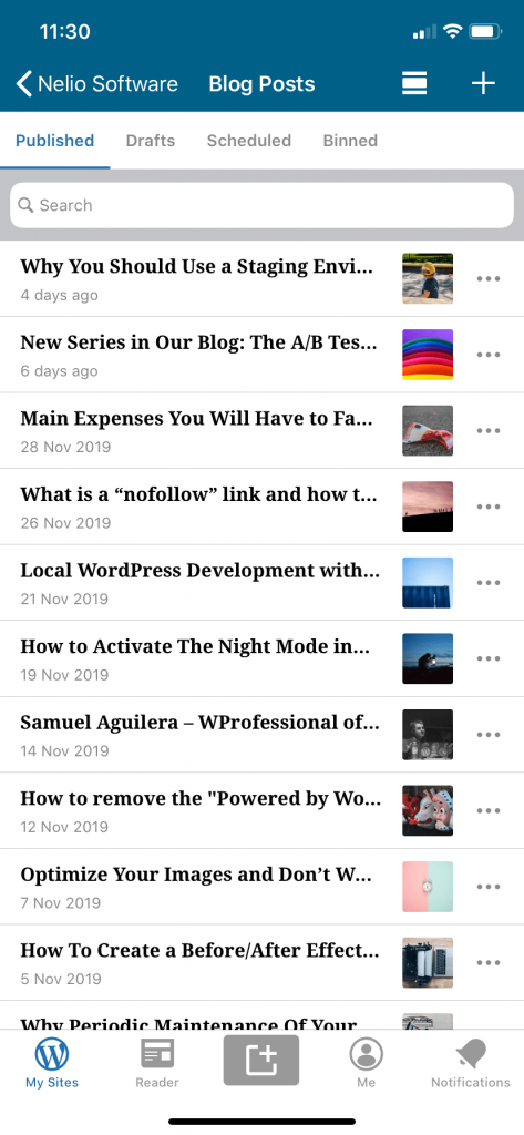 Vista alternativa de la lista de entradas del blog en la app de WordPress para iPhone
