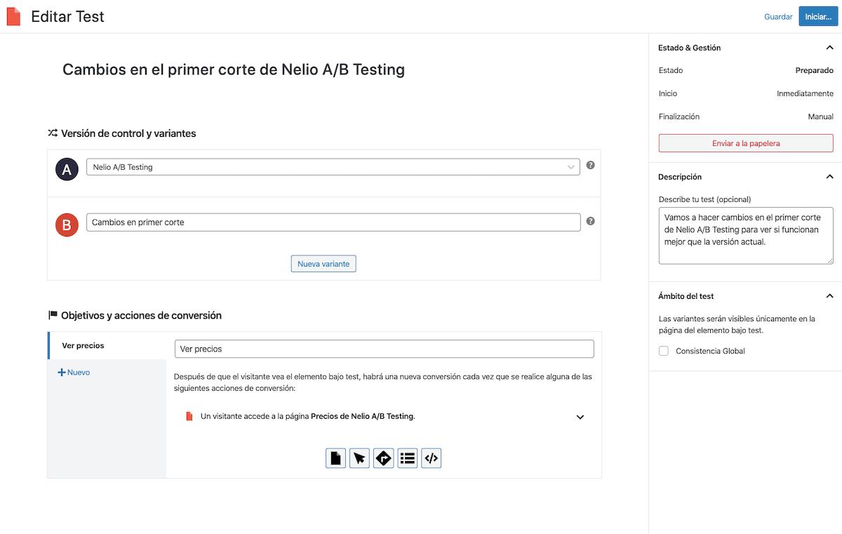 Pantalla de creación del test de páginas para la página principal de Nelio A/B Testing.