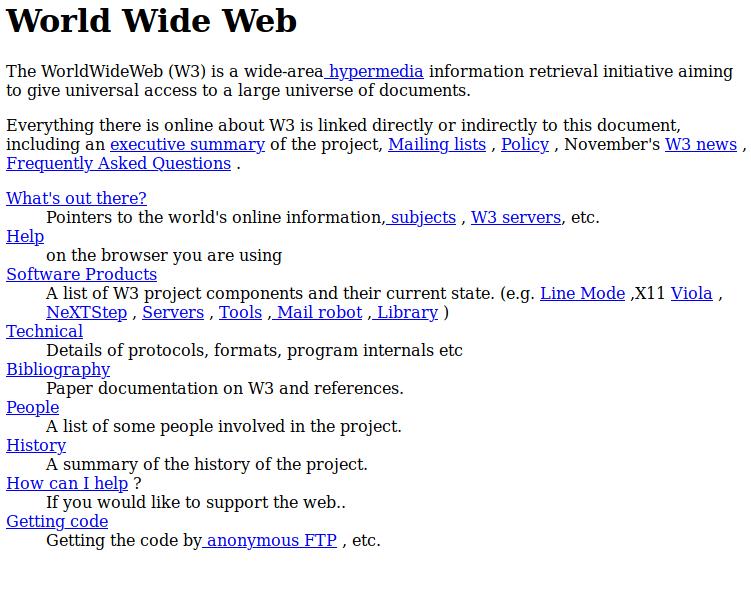 Captura de pantalla de la primera web