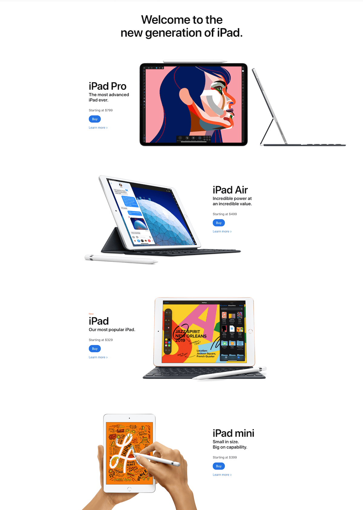 The iPad page is a good example of the use of blanks and minimalist design.