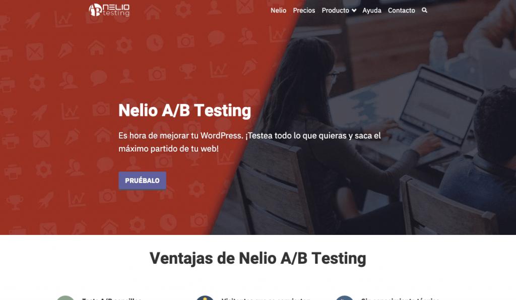 Versión original del primer corte de la página principal de Nelio A/B Testing.