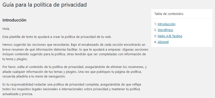 Guía para la política de privacidad en WordPress