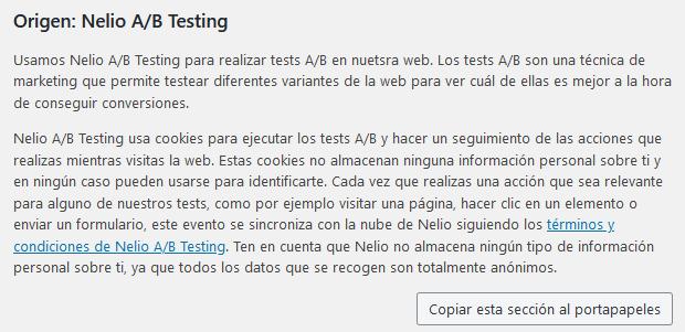 Sugerencia de política de privacidad de Nelio A/B Testing