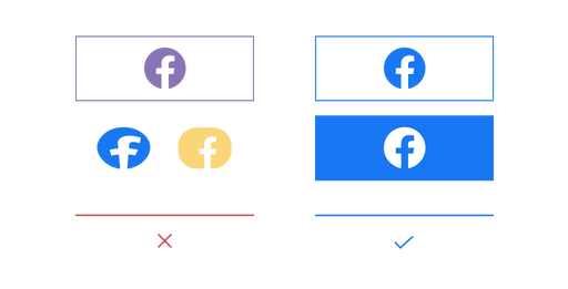 Examples of what you can and cannot do with the Facebook logo.