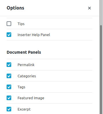How to activate the panel to edit the excerpt of a post.