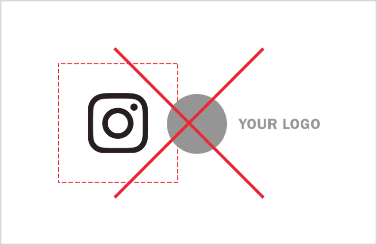 Instagram forces you to leave a space of a minimum size between your logo and another that you want to put next.