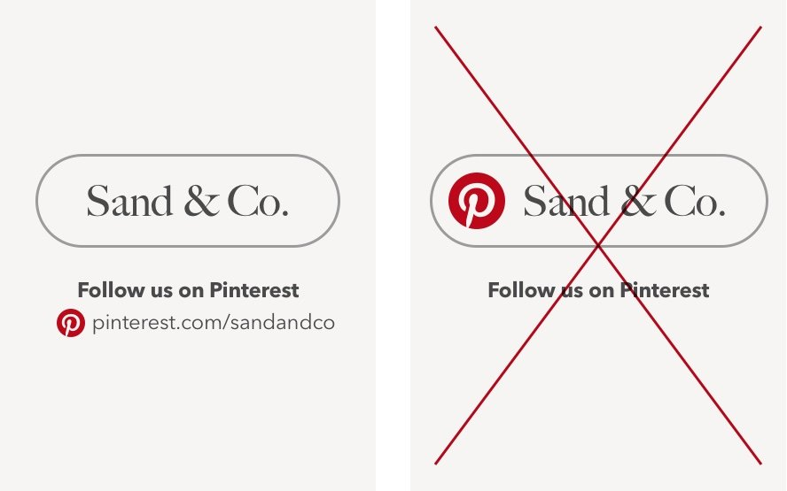 On Pinterest you cannot use the logo next to the name of your organization. You only have to use it with the link to your Pinterest profile.