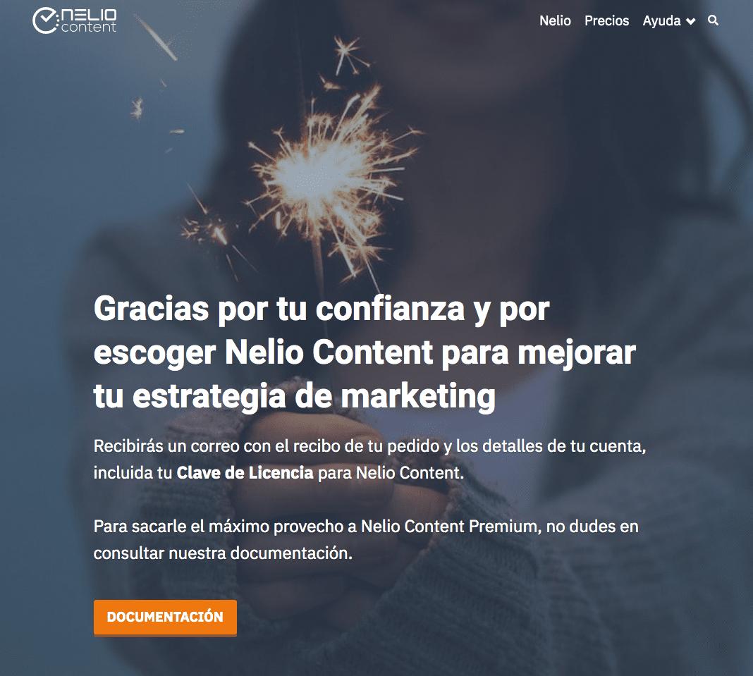 Página que se muestra tras la compra de Nelio Content Premium.