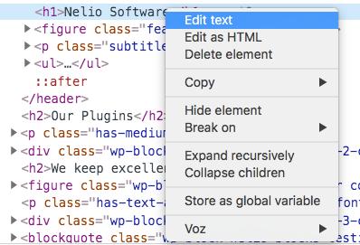 Edita el texto de un elemento de una página.