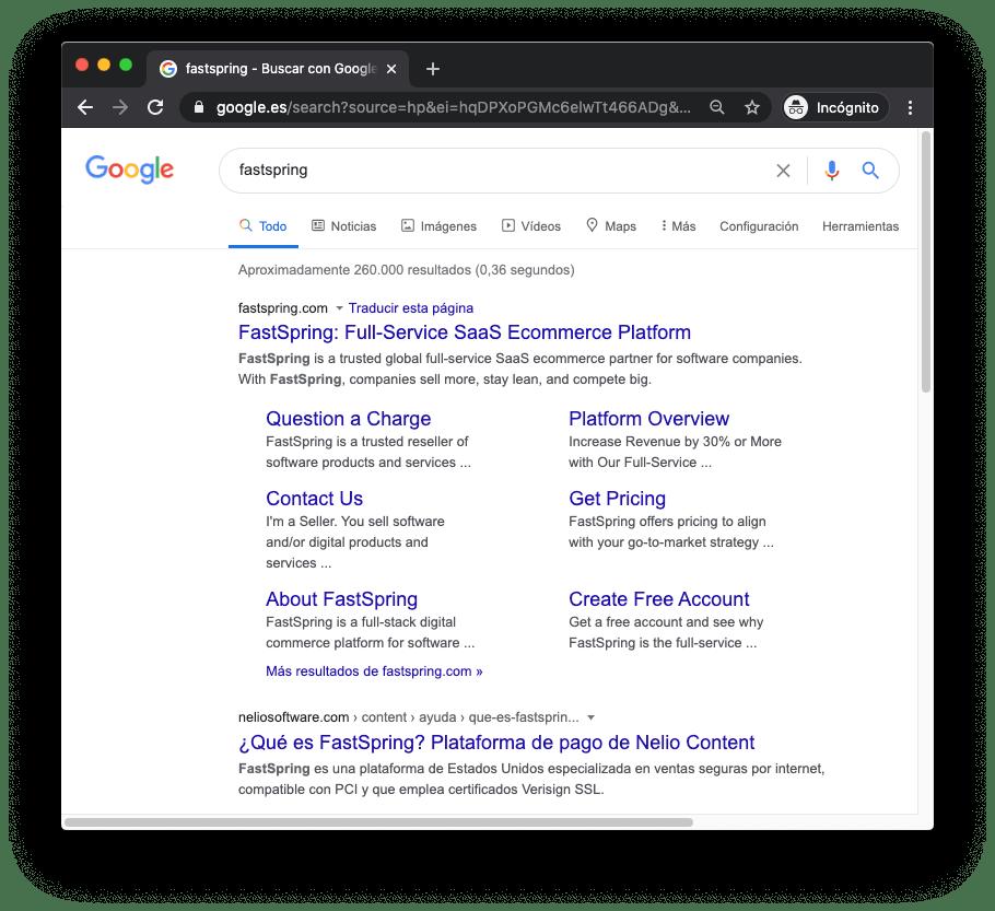 El primer resultado de búsqueda para FastSpring en Google España, en castellano, ¡somos nosotros!