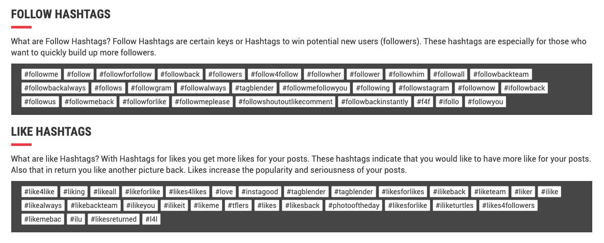 Lista de hashtags más populares para conseguir más seguidores y más likes en Instagram.