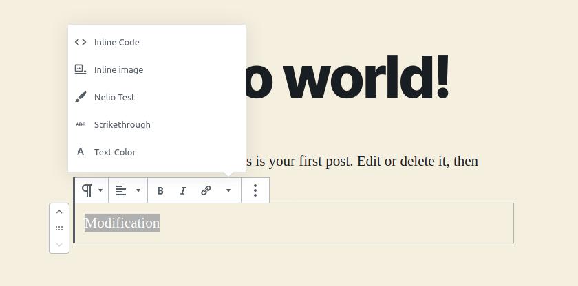 New button in Gutenberg