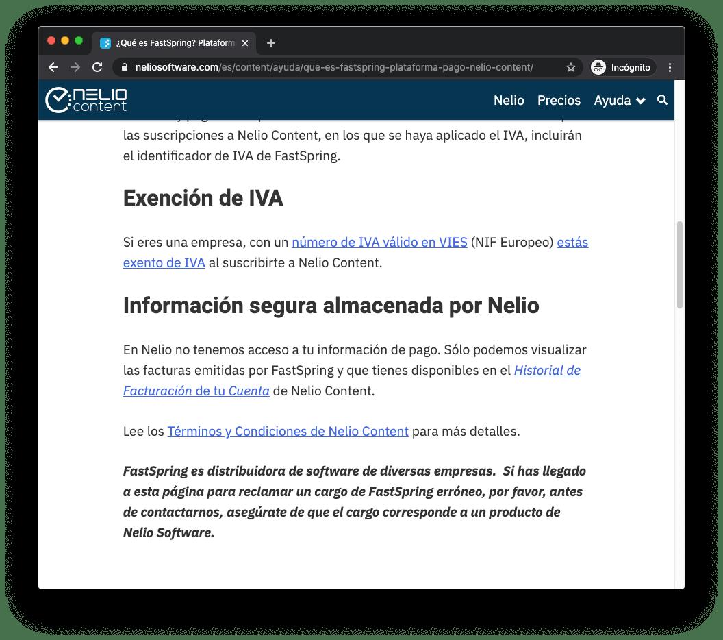Captura de pantalla de la web de Nelio donde se explica que trabajamos con (pero no somos) FastSpring