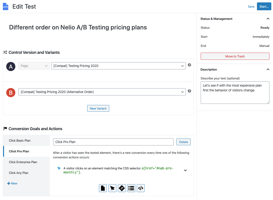 Screen for creating a WordPress template test with Nelio A / B Testing.
