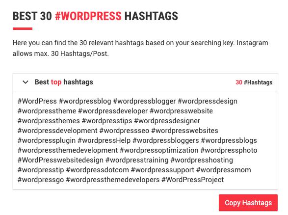 Lista de hashtags más populares en Instagram para la temática WordPress.