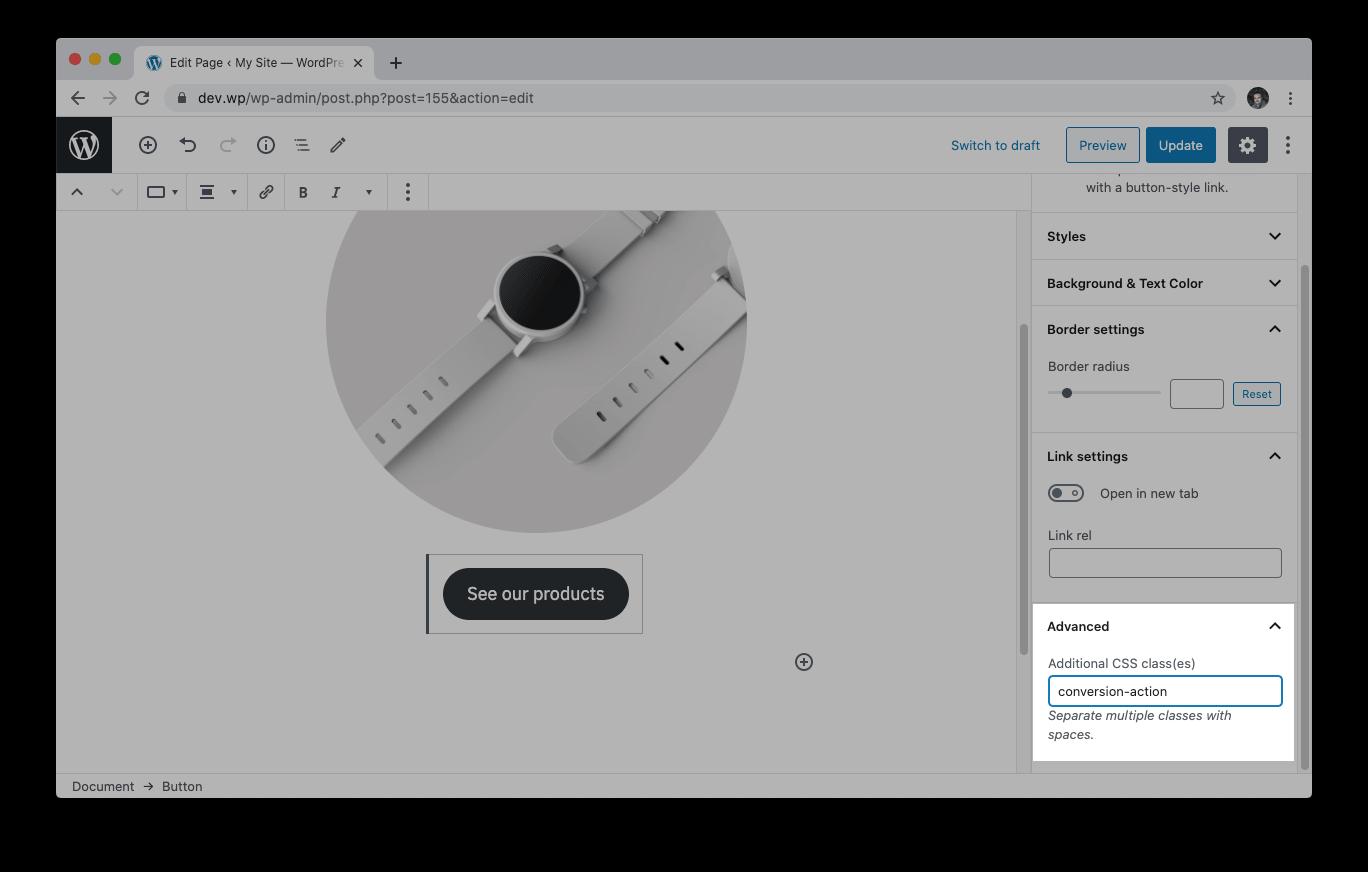 En el editor de bloques de WordPress podemos seleccionar un elemento y añadirle una clase concreta.