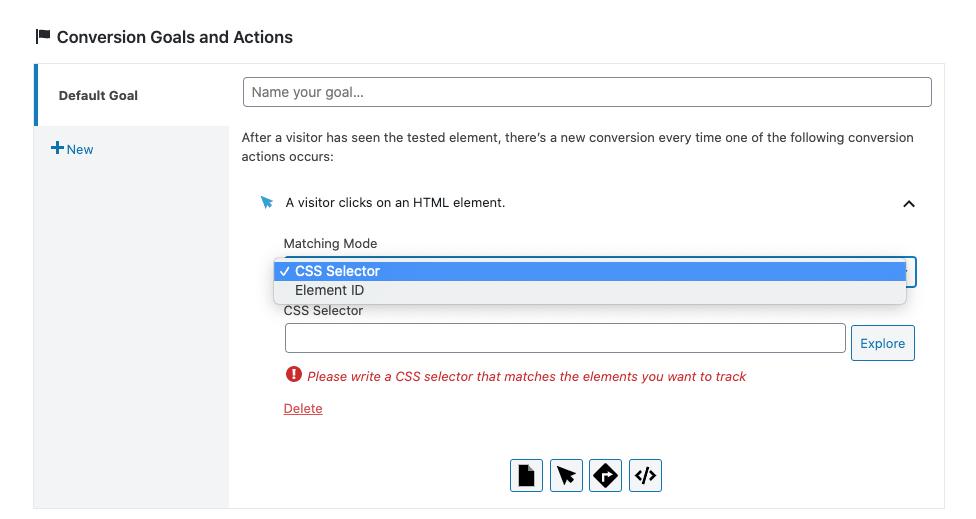 Puedes elegir entre detectar los clics a elementos de tu web a través de selectores CSS o del ID del elemento.
