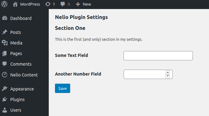 Example of a simple settings page.