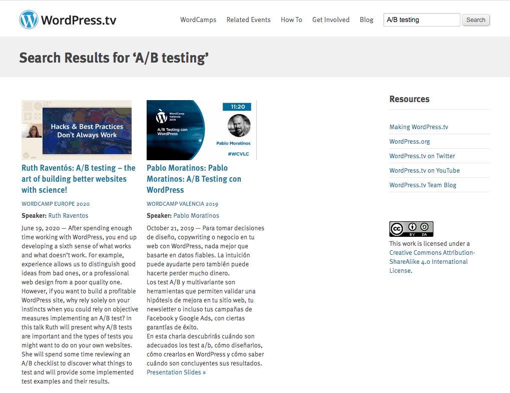 Captura de pantalla con el resultado buscar charlas sobre A/B testing en WordPress.tv