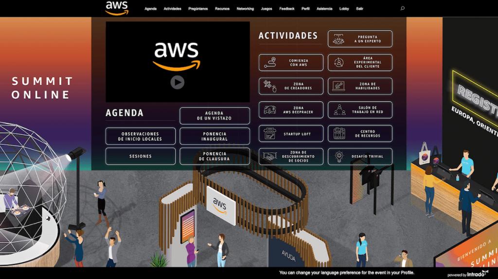 Pantalla principal del evento AWS Summit Online, con un montón de opciones disponibles.