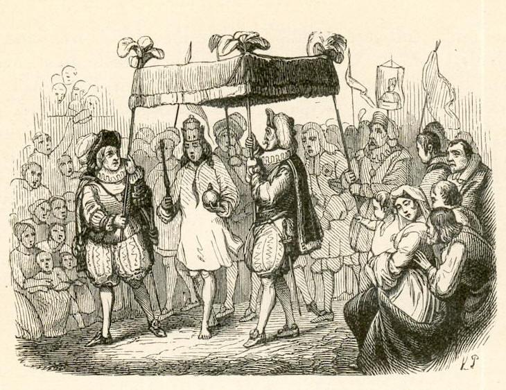 Dibujo de Vilhelm Pedersen mostrando la llegada de un rey