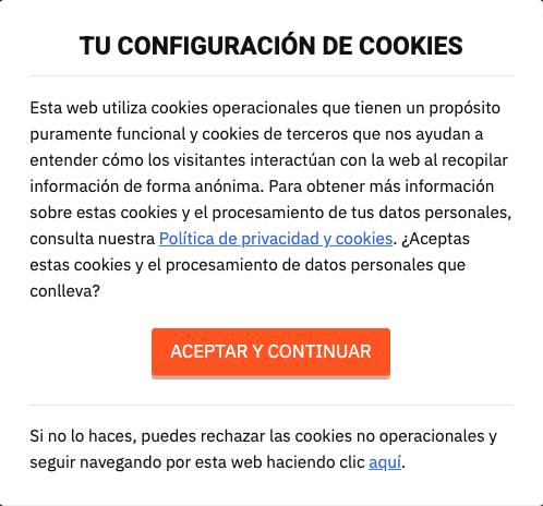 Ventana de configuración de cookies.