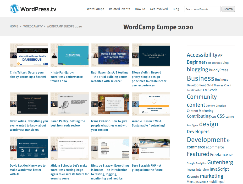 Some of the WordCamp Europe 2020 talks.
