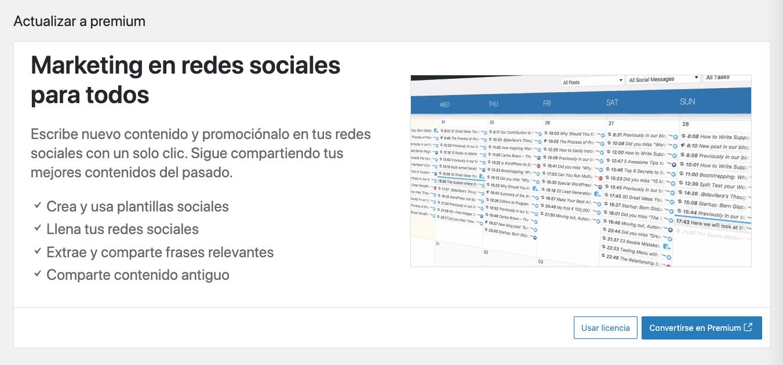 Captura de pantalla de la opción de actualizar el plan de Nelio Content de gratuito a premium.