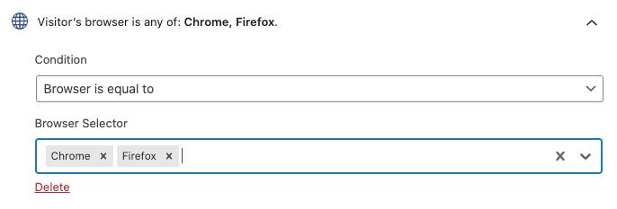 Ejemplo de la regla de segmentación de navegador.