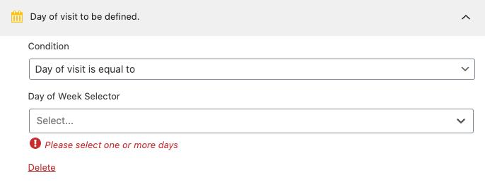 Regla de segmentación de día de la semana.