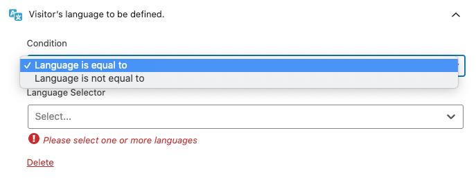 Condiciones de la regla de segmentación de idioma.