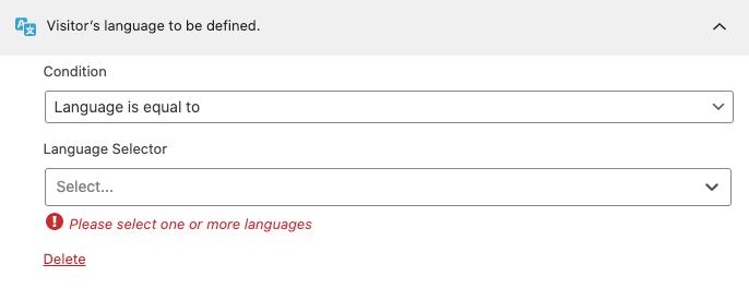 Regla de segmentación de idioma.