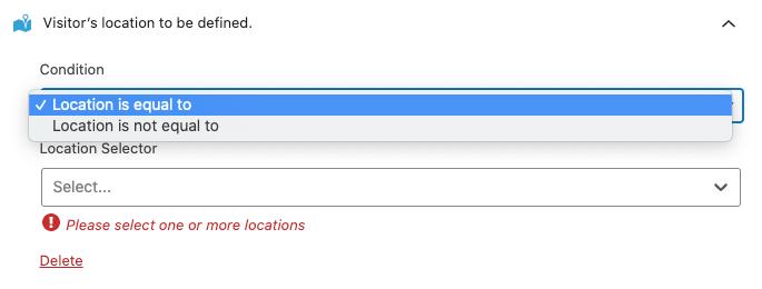 Condiciones de la regla de segmentación de localización.