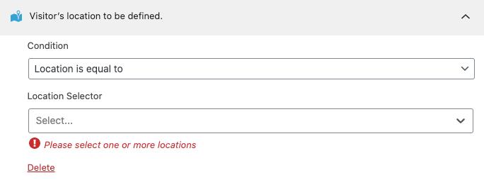 Regla de segmentación de localización.