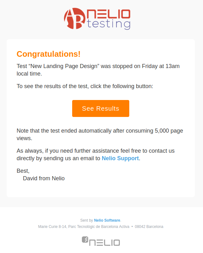 Nelio A/B Testing Notification Email